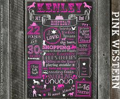 1st Birthday Pink Western Chalkboard Poster Sign Printable /DIGITAL / baby's 1st / Western Girl / Cowgirl / Horses / Plus FREE Web File