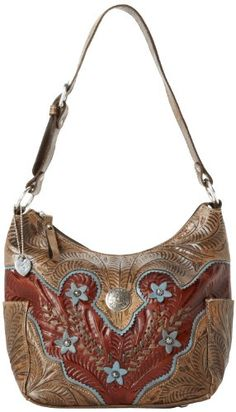 American West Desert Wildflower Zip Top Everyday Shoulder Bag 0c594a8538dec