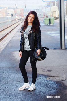 #SheInside Black Rivet Embellished Lapel PU Leather Jacket - Sheinside.com