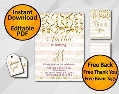 21st Instant Download Birthday Invitation 1st 13th 18th 30th
