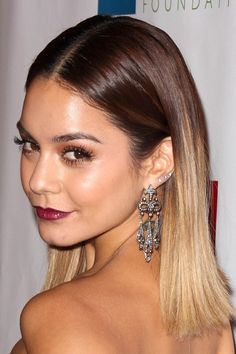 Vanessa Hudgens Straight Medium Brown Ombré, Two-Tone Hairstyle ...