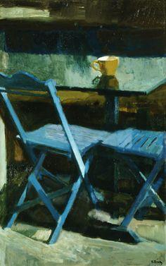 bofransson: The blue chairs II, 1976 Panayiotis Tetsis Illustrations, Illustration Art, Street Art, National Gallery, Post Impressionism, Painting Still Life, Art Database, Love Art, Amazing Art