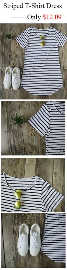 This slim shift dress crafted from black and white stripe, featured v neck, short sleeve and curved hem. Only $12.09. Get the look at shein.com