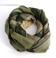 Écharpe Homme Kaki/Beige/Marron - Rayures et carreaux tendance - snood, col, : Echarpe, foulard, cravate par ladyplazza