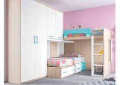 Dormitorio infantil con literas armario y altillo