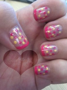 Cute pink and yellow polka dot/french tip nail design. Very easy to do & great colors for summer!