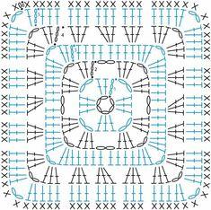 several free patterns (written + chart) for granny square, gra . : several free patterns (written + chart) for granny square, free pattern (English, described + schedule) for granny square, crochet pattern Crochet Stitches Chart, Granny Square Crochet Pattern, Crochet Blocks, Crochet Diagram, Crochet Squares, Crochet Granny, Crochet Motif, Crochet Designs, Free Crochet