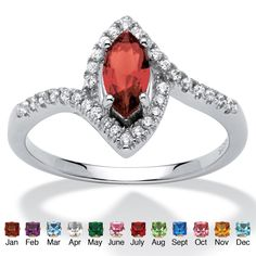 Palm Beach Jewelry PalmBeach Color Fun Sterling Silver Marquise-cut Birthstone and Cubic Zirconia Ring (Size 7 - January - Simulated Garnet), Women's, White (solid)