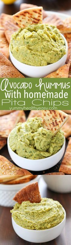 Avocado Hummus with Homemade Pita Chips - you will go crazy for the combo of avocado, garbanzo beans and spices! Dip in some easy homemade pita chips, and you have yourself a healthy, flavorful snack!