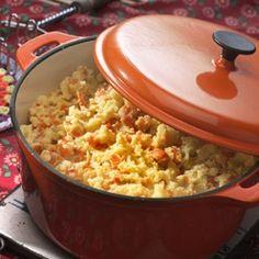 Wortelstamppot: Stamppot van aardappelen, wortel en ui.