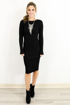 Cold Weather Dreams Midnight Ribbed Midi Sweater Dress