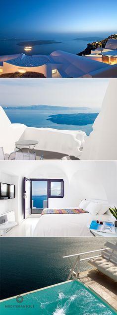 Chromata Hotel: a luxury hotel in Santorini perfect for a romantic honeymoon Honeymoon Hotels, Romantic Honeymoon, Honeymoon Destinations, Luxurious Honeymoon, Wonderful Places, Beautiful Places, Santorini Hotels, Beste Hotels, Luxury Travel