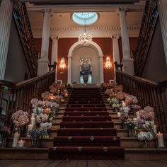Wedding flowers with a difference! The stairs at Photography: Videography: Musician: . Pregnant Wedding Dress, Maternity Wedding, Cheap Wedding Venues, Romantic Moments, Irish Wedding, Wedding Thank You Cards, Videography, Wedding Flowers, Wedding Dresses