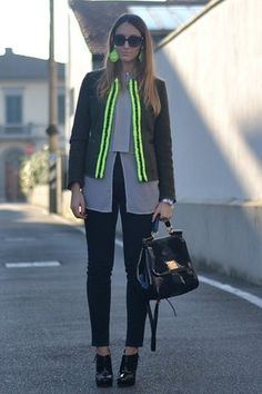 Army green DeHart jacket with neon green details