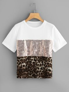 Summer Women Patchwork Leopard Print Sequin Sleeve Tee Casual Top ONeck TShirts 30 Color black Size S Crop Top Und Shorts, Crop Tops, Blouses For Women, Pants For Women, T Shirts For Women, Mode Outfits, Fashion Outfits, Womens Fashion, Traje Casual