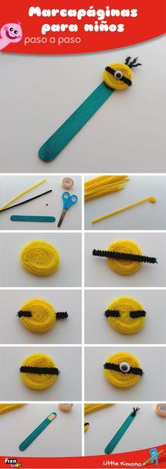 Tutorial para hacer un marcapáginas en forma de Minion con limpiapipas Fixo Kids  #Minion #Marcapaginas #DIY Kids Crafts, Quick Crafts, July Crafts, Holiday Crafts, Diy And Crafts, Magic Box, Diy For Kids, Elementary Schools, Bookmarks