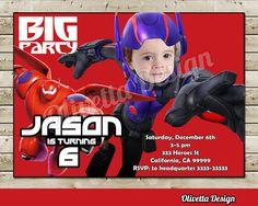 Big Hero 6 Invitation with Photo for Birthday Party Baymax Hiro invitation- Digital File