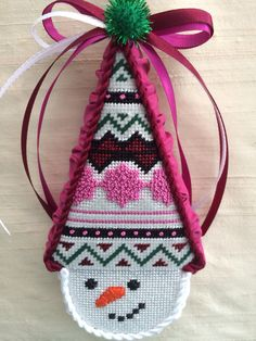 Burgundy and rose snow cone ornament ~ needlepoint canvas by Kirk & Bradley