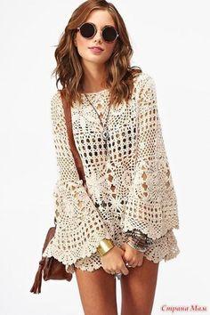 Boho tunic crochet beach cover up lace sexy hippie gipsy image 2 Crochet Tunic Pattern, Crochet Blouse, Knit Crochet, Crochet Tops, Freeform Crochet, Crochet Patterns, Top Boho, Crochet Woman, Crochet Fashion