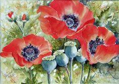Peinture - medium Aquarelle - Gaétane Lessard Watercolor Poppies, Watercolor Disney, Watercolor Paintings, Watercolors, Art Floral, Autum Flowers, Beauty In Art, Most Beautiful Flowers, Art Station