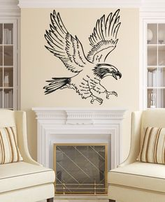 Eagle Wall Decals Bird Animal Decal Vinyl Sticker Home Art Bedroom Decor Interior Design Art Murals Dear Buyers, Welcome to our shop VinylDecals2U!  ★ SIZE AND COLOR ★ Approximate Item Sizes:  17 Wide x 23 Tall 22 Wide x 27 Tall 28 Wide x 34 Tall 38 Wide x 47 Tall  If this size is inappropriate for you, you can contact us and provide your dimensions and we can create for you decal of any size. ✓✓✓Please note that any changes of the decal dimensions will result in the price change.Just…