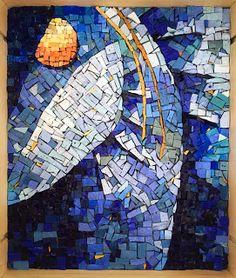 Abstract Spiral in Glass Tile Smalti Mosaic Mosaic Art, Mosaics, Yellow Sun, Blue, Spiral, City Photo, Glass Art, Abstract Art, My Arts