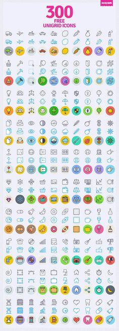 Free 300 Unigrid Icons PSD
