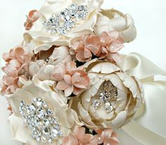 elegant silk flower bridal bouquets | Elegant Garden Ivory, Champagne and Blush Silk Bouquet / Emici Bridal