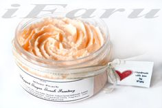 White Peach scented sugar body polish is pure comfort in a jar and loaded with pure sugar to exfoliate your dry dull skin and enriched with moisturizing creamy Shea Butter, Sweet Almond oil, Argan Oil, Olive Fruit Oil, and Jojoba Oil, this whipped, foaming scrub nourishes as it cleanses leaving you with beautiful skin. A rich and creamy bath indulgence!