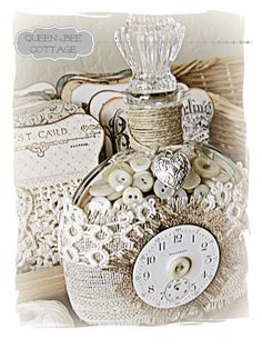 Shabby Chic altered bottle by queenbeecottage.blogspot.com