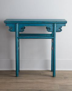 What a gorgeous Antique Wooden Table from Horchow - live the colour blue #chinesestyle #chinesefurniture #orientalstyle