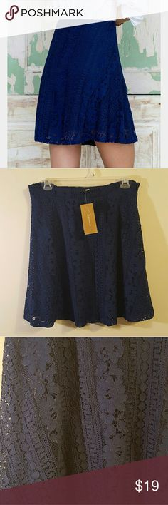 Lace mini skirt Beautiful lace skirt. Navy blue, zips up the side. It has a slight flare to it... absolutely gorgeous! NWT!! Francesca's Collections Skirts Mini