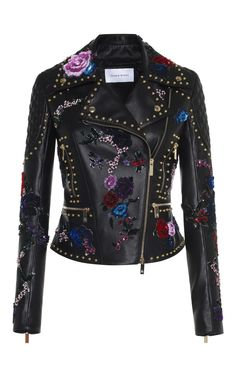 Embroidered Leather Biker Jacket by ZUHAIR MURAD for Preorder on Moda Operandi