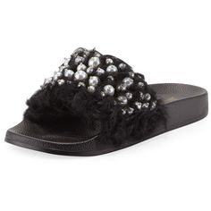 Neiman Marcus Embellished Furry Slide Flat Sandal ($65) ❤ liked on Polyvore featuring shoes, sandals, black, black flat sandals, black studded flats, flat slide sandals, open toe flat sandals and black flat shoes