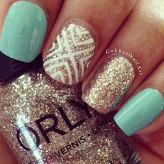 Image uploaded by Chilemu. Find images and videos about blue, nails and gold on We Heart It - the app to get lost in what you love. Aqua Nails, Gold Glitter Nails, Manicure Colors, Nail Colors, Prom Nails, Wedding Nails, Bachelorette Party Nails, Cute Nails, Pretty Nails