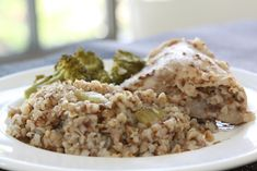 My grandmother made a dish similar to this which she called Chicken and Kasha. It's a simple hearty winter stew, and buckwheat is a delicious and healthful food. Heart Healthy Recipes, Diabetic Recipes, Meat Recipes, Cooking Recipes, Guisado, Buckwheat Recipes, Caprese Chicken, Yum Yum Chicken, Seafood Dishes