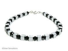 Silver Hematite Cube Beads Unisex Sterling Silver Bracelet With Black Crystals - £16.50 + P & P #craftfest #eshopsUK #handmadehour http://www.silver-sensations.co.uk/silver-hematite-cube-beads-unisex-sterling-silver-bracelet-with-black-crystals-5446-p.asp