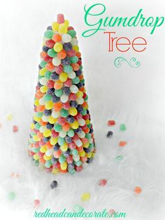 DIY Gumdrop Tree - how fun for the kids! by http://redheadcandecorate.com