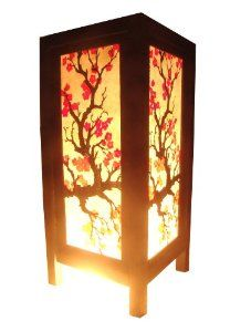 Amazon.com: Thai Vintage Handmade Asian Oriental Japanese Sakura Flower Bedside Table Light or Floor Wood Paper Lamp Shades Home Bedroom Garden Decor Modern Design from Thailand: Home Improvement