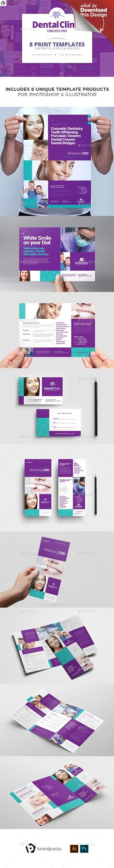 3 fold, appointment card, BrandPacks, clean, corporate, dental, dental clinic, dental practice, dentist, DL card, flyer, flyers, folding, grid, medical, poster, purple, rack card, three fold, tri-fold, tri-fold brochure, tri-fold brochure template, trifold, trifold brochure, trifold brochure template Dental Clinic Templates Bundle for Adobe Photoshop & Adobe Illustrator   These stylish, clean and professional template designs will help promote any dentist as modern, competent and safe....