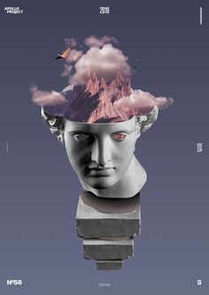 Creative photo-manipulation of Apollo's Statue where I add clouds, birds, and mountains inside its head in Photoshop. Creative Poster Design, Graphic Design Posters, Graphic Design Inspiration, Graphic Art, Collage Illustration, Graphic Design Illustration, Collage Design, Collage Art, Vaporwave Wallpaper