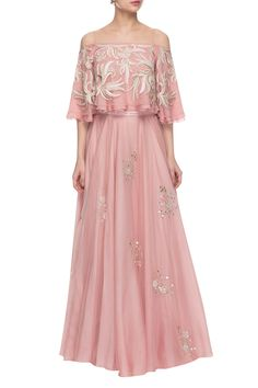 Light pink embroidered off-shouldered top skirt by Ritika Mirchandani - Shop at Aza