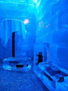 Ice bar in Reykjavik, Iceland. I bet it's worth wearing a special heat suit to say you've been.