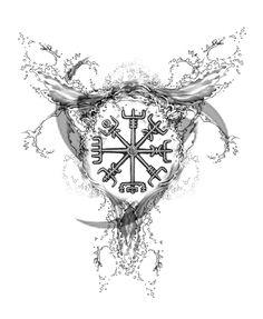 Elemental Tattoos by Joseph Gilland: Viking Water Compass Tattoo Design
