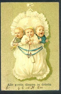 JF196 Bébés MULTIPLES JUMEAUX Gaufrée MULTI BABIES TWINS BABIES Embossed 1903
