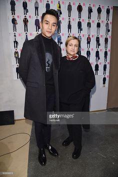 Wang Kai and Silvia Venturini Fendi attend the Fendi show during Milan Men's Fashion Week Fall/Winter 2016/17 on January 18, 2016 in Milan, Italy.
