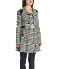 Look at this Celsius Black & White Houndstooth Wool-Blend Peacoat on #zulily today!