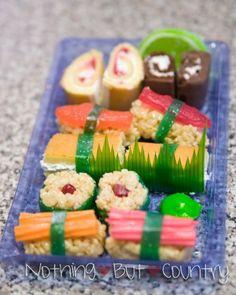 dessert sushi Dessert Sushi, Sushi Cake, Sushi Party, Sushi Set, Fruit Sushi, Veggie Sushi, Nigiri Sushi, Sashimi, Unique Desserts