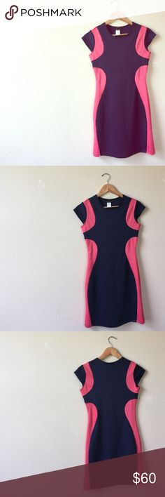 Navy blue and coral bodycon dress The perfect summer dress. Very figure flattering! 96% polyester 4% spandex Dresses Mini
