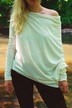 Creamy LeMuse asymmetric longsleeved blouse by LeMuse on Etsy, $75.00